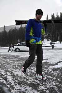 Climbing legend and general outdoor enthusiast Tommy Caldwell heads through Hidden Valley for the backcountry on Thursday. With a little new snow and a possibility of more to follow, it's good to get out.