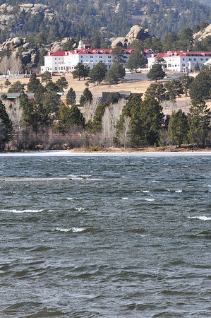 High winds create white caps on Lake Estes on Thursday. While the temperature was not too bad, in the mid 30s, coupled with 26 mph winds, the area around the lake was chilly.