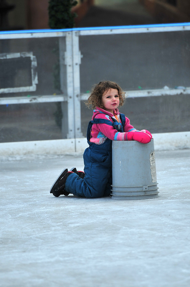 Ella Helmuth, 2, of Estes Park tries to get up off the ice at the rink on Monday. The temperature will be pleanty cold to keep the ice hard at least until Friday.