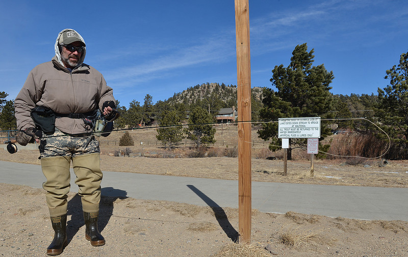 Jim Fausset of Estes Park suffers a wind-blown delay in his Thursday fishing. A knot in his line briefly forced the fly fisherman out of the Big Thompson.