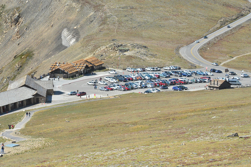 The Alpine Visitor Center parking area is nearly full of Labor Day visitors to Rocky Mountain National Park.