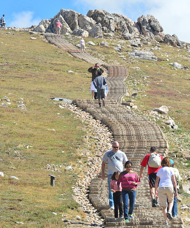 The Alpine Ridge Trail above the Alpine Visitor Center on Trail Ridge Road is also referred to as Huffers' Hill by visitors who negotiate its steep steps.