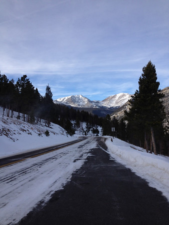 Snow was not a hinderance to car traffic in Rocky Mountain National Park Sunday afternoon.