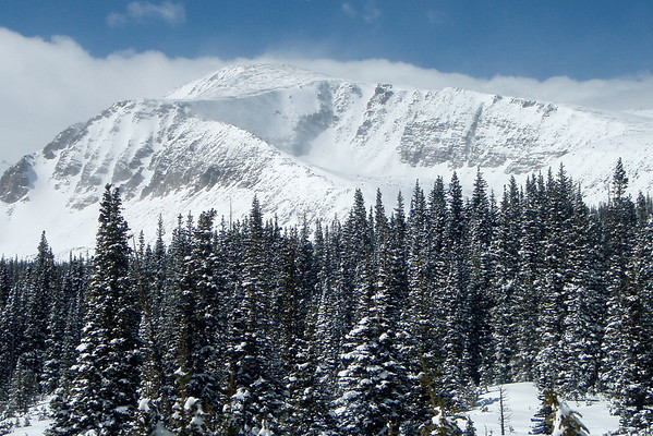 A snowy Mount Audubon in the Indian Peaks Wilderness Area.