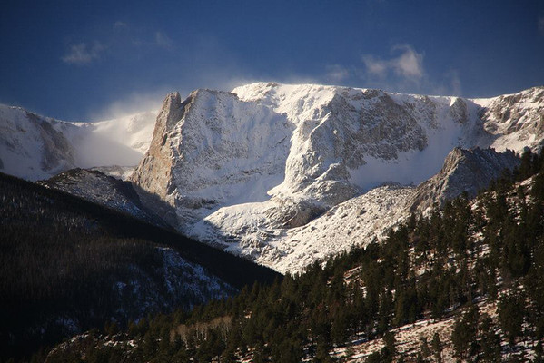 Snow blows off Notchtop Mountain in Rocky Mountain National Park in mid-December.