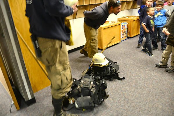 Estes Park Elementary students had the opportunity to see some of the fire equipment carried by firefighters from the Fern Lake Fire, and to ask the firefighters questions during a talk with elementary students Monday morning.
