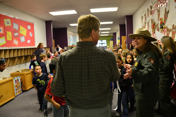 Ranger Kathy Brown responds to a question during her talk Monday morning with Estes Park Elementary students.