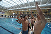 Luke Holmes, right, Austin Park and Storm Wolf, in black swim cap, celebrate the breaking of the Estes Park 400-yard reestyle record at the 4A State Swimming and Diving meet on Saturday. The trio, along with co-record-breaker Forrest Beesley, placed tenth out of 24 teams in the meet, ahead of much bigger schools such as Mullen, Mountain View and Wheat Ridge.