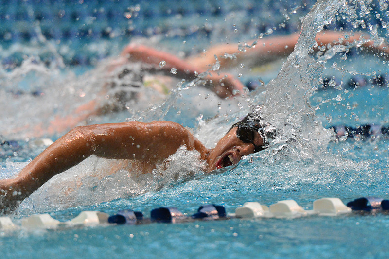 Austin Park swims the 100-yard freestyle in the consolation heat on Saturday. Park, along with Holmes, Wolf and Beesley, broke records and placed 10th in the field of 24 schools.