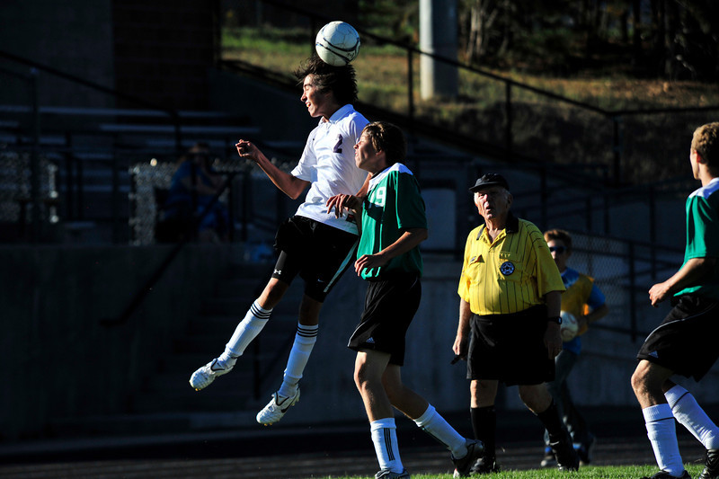 Photo by Walt Hester<br /> Estes Park's Aaron Tulley gets a head on the ball in the second half of the Bobcat's game against Heritage Christian.The Bobcats beat the visiting Eagles 5-3.