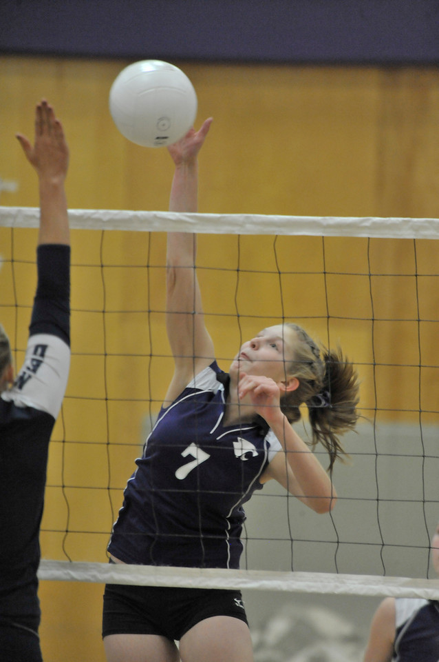 Photo by Walt Hester<br /> Ladycats' Ali Scheil kills a pass against Nederland on Thursday.