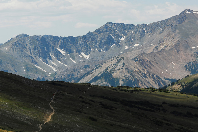 Photo by Walt Hester<br /> Hikers take the meandering trail from the Alpine Visitors Center to Milner Pass on Sunday.