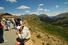 Photo by Walt Hester<br /> Visitors flock to the viewing deck of the Alpine Visitors Center to look down from more than 11,000 feet. The visitors center sits on Trail Ridge Road where it intersects with the park's first vehicle path, the Old Fall River Road at Fall River Pass.