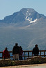 Photo by Walt Hester<br /> Longs Peak looms over visitors at Many Parks Curve. Many Parks Curve is where the park closes Trail Ridge Road in winter.