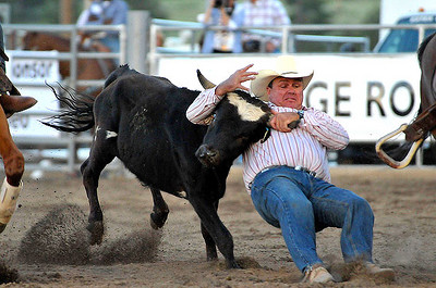 "Steer wrestler Jace Honey of La Junta, Colo., stops his steer during Wednesday's session of the Rooftop Rodeo. Honey received ""no time"" for his efforts. Photo by Walt Hester"