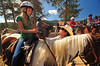 Photo by Walt Hester<br /> Jessica Halee, 12, of Boulder listens to Lindsey Karschner give some instruction and reassurence at the Allenspark Livery on Thursday. Halee was visiting Allenspark with her summer camp, the Cal-wood Education Center in Jamestown, Colo.