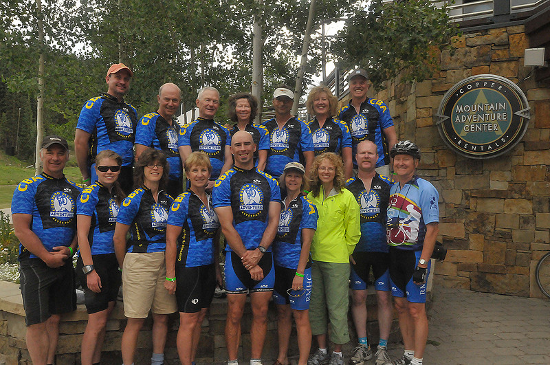 Courtesy Photo<br /> Team RMHC poses on Saturday for their team photo at the Courage Classic ride for the Denver Children's Hospital. The team, sponsored by Rocky Mountain Health Club and Colorado Bicycling Adventures are mainly from Estes Park and raised nearly $10,000 for Children's Hospital. Mmebers are, from top left; Blake Haworth, Jim Docter, Don Sellers, Marty Faraguna, Sandy Begley, Pat Begley, Michael Aldrich, Mary Mays, Pam Duemig, Eunice Docter, Walt Hester, Kristi Faraguna, Susan McNeil, Rick Life and Richard Life. Not Pictured were; Cynthia Erbes, Steven Haworth and Tom Raynes.
