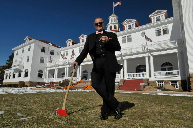 "Photo by Walt Hester<br /> Jack Nicholson impersonator, R.L. ""Jack"" Bullard, Awaits the start of The Shining Ball at the Stanley Hotel on Halloween. Bullard has made a carreer looking like the Overlook Hotel's scariest caretaker."