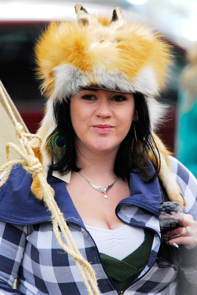 Photo by Walt Hester<br /> Amber Grandinetti of Aurora, Colo. sports a fox hat at Elk Fest on Saturday. Elk Fest celebrates the historic culture surrounding elk, such as Native Americans and mountain men, both known for make hats from the hides of the animals around them.