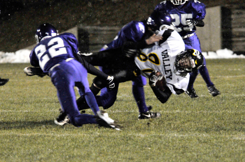 Photo by Walt Hester<br /> The Bobcats' defense spent most of Friday night on their heels as the visiting Vikings racked up 40 points.