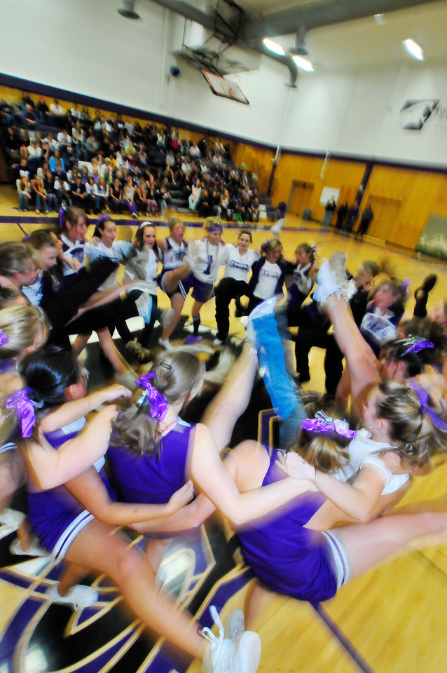 Photo by Walt Hester<br /> Estes Park High School students get a kick out of the cheer and dance squads durning Friday afternoon's Homecoming pep rally at the high school.