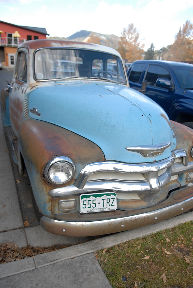 Photo by Walt Hester<br /> A classic, early-fifties pickup truck sits in a lot along Elkhorn Avenue on Tuesday.