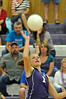 Photo by Walt Hester<br /> Julia Lawrence pounds down another of her many spike during Tuesday's loss to Peak to Peak at the Estes Park High School.