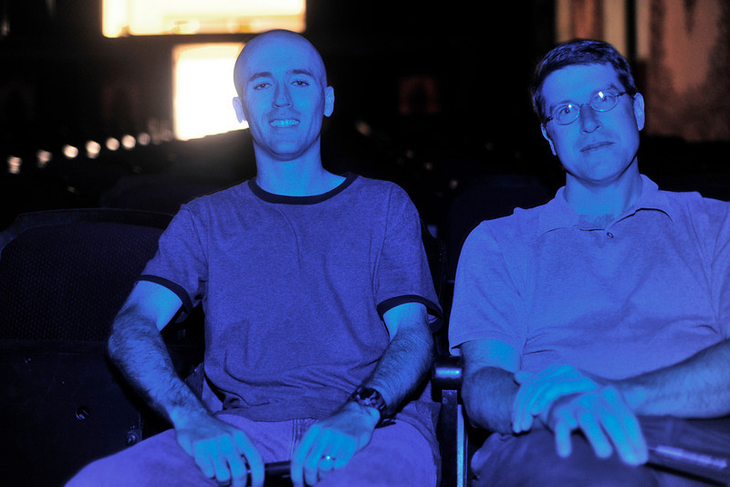 Photo by Walt Hester<br /> Sean Doherty and Cliff Armitage sit in the historic Park Theater on Wednesday ahead of the 5th annual Estes Park Film Festival this weekend. The festival kicks off Friday with a opening night reception.