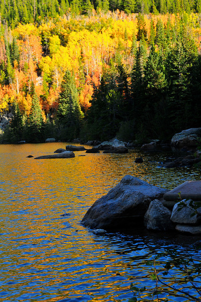 Photo by Walt Hester<br /> The sunshine on aspen cause a gold and blue dappling of light on Bear Lake on Tuesday.