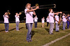 "Photo by Walt Hester<br /> Allison Rodgers, 15, performs with the Bobcats' Marching Band at halftime of Friday's football game at Bobcat Stadium. The band is building their 2009 competition routine based on the music of ""The Little Shop of Horrors."""
