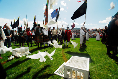 Photo by Walt Hester Doves burst out of cages during the Kirking of the Tartens during Sunday's opening ceremonies. Clan tartens were outlawed by the English at one time, so families would sneak a small piece of the family tarten into hurch to recieve a blessing.