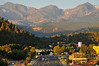 Photo by Walt Hester<br /> The Continental Divide greets drivers heading into Estes Park along Big Thompson Avenue on the last Friday of the summer tourist season.
