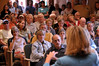 Photo by Walt Hester<br /> A full house of mostly civil constituents question Rep. Betsy Markey, D-Colo., about the House bills concerning heath care and health insurance overhaul. Rep. Markey held two question and answer sessions starting at the public library, then moving to the Town Hall to accommodate the crowds.