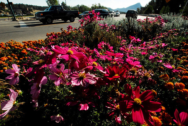 Photo by Walt Hester<br /> Flowers along US 36 welcome visitors to town for the traditional last weekend of summer on Saturday.