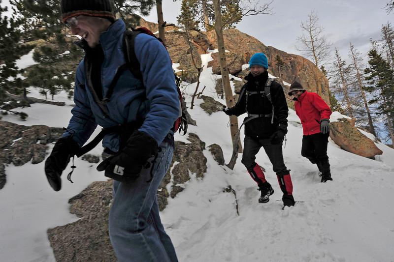 Walt Hester | Trail-Gazette<br /> Evan Marsh, left, Thago Koyashiki and Lelis Lima head toward Dream Lake on Wednesday. The trio work at the YMCA of the Rockies.