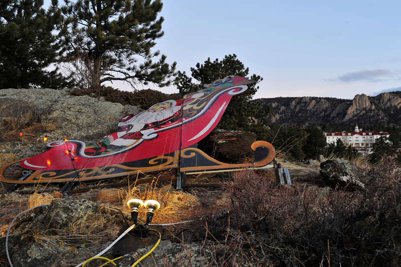 Walt Hester | Trail Gazette<br /> Santa sufferes a tough night New Years Eve. High winds buffetted the Estes Park area over the weekend.
