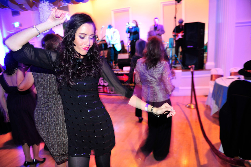 Walt Hester | Trail Gazette<br /> Genna Tilbury of Portsmouth, England, dances the year out at the Stanley Hotel New Year's Eve celebration. Tilbury traveled the farthest to start 2012 in Estrs Park, most revelers came from around Colorado.