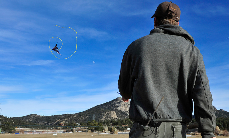 Walt Hester | Trail Gazette<br /> Andy York of Estes Park flies an acrobatic kite at Stanley Park on Wednesday. High temperatures, for January, and light winds coaxed residents into the sunshine, with more of the same ahead.