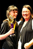 Walt Hester | Trail Gazette<br /> Samantha Schrag celebrates her win in the middle school geography bee with teacher Anastasia Sunday in th high school auditorium on Friday. Schrag will take a writen test and possibly move on to the state geography bee in the spring.