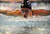 Walt Hester | Trail Gazette<br /> Estes Park's Maddy Pal wins the 100-yard butterfly on Tuesday. The Ladycats won each event, and swept the top three in four of the 13 events.