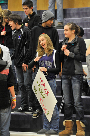 Walt Hester | Trail Gazette<br /> Ellie Ciezczak makes her feelings known at the Tuesday night basketball game. The annual MORP, Prom backwards, is a chance for the girls to ask the boys out.