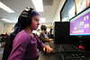 Walt Hester | Trail Gazette<br /> Mia Bobowski, 6, gets some work done in the elementary school computer lab on Wednesday. Children at the school are familiarized with compurters as part of their library time.