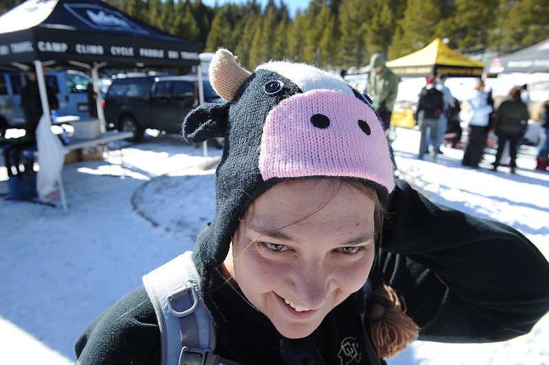 Walt Hester | Trail Gazette<br /> Erin Sparks of Aurora shows off her cow hat at the Winter Trails Day on Saturday. The event was a chance to pull out fun winter clothing.