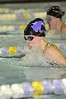 Walt Hester | Trail Gazette<br /> Ladtcats' senior Hanna Steadman leads Windsor's Caitlin Tufts in the 100 yard breaststroke on Tuesday. Steadman won the race and Estes Park won the meet, 105-81, on Senior Night for the swimmers.