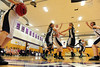 Walt Hester | Trail Gazette<br /> Amanda Dill gets open as Faith Weibel draws the double team late in the third quarter on Friday. Every Ladycat who got on the floor against University was able to score.