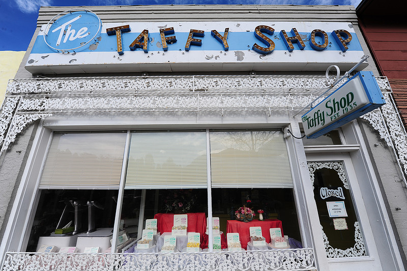 Walt Hester | Trail Gazette<br /> The Taffy Shop is one of the oldest businesses on Elkhorn Avenue. The old taffy pulling machines draw crowds on days they run.