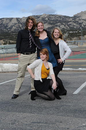 Walt Hester | Trail Gazette<br /> Members of the Nordic Choir from Luther College in Decorah, Iowa, pose with the Estes Park mountains behind them on Monday. The choir visited and performed for the high school and middle school music programs.