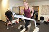 Walt Hester | Trail Gazette<br /> Stacy Sawyer of Fort Collins runs on a treadmill while a camera and computer records her running gait on Saturday. An increasing number of businesses catering to endurance athletes are sprouting up in Estes Park, due to the town's altitude and access to outdoor training opportunities.