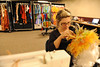 Walt Hester | Trail Gazette<br /> MariLou Gagne from Montreal recurls a wig after washing. Gagne says the whole cleaning, drying  and curling of this wig takes about three hours.