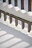 Walt Hester | Trail Gazette<br /> Shadows and deck rails contrast against snow on Sunday. Sunshine returned, but was accompanied by cold temperatures in the Estes Park area.